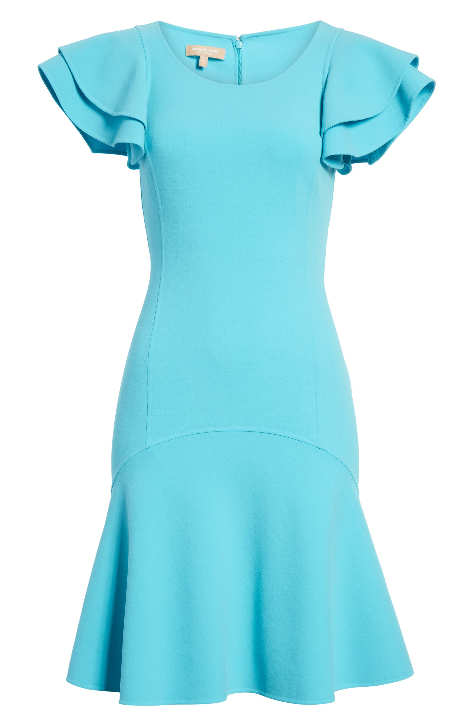 98953b1f1c0f7 Michael Kors Layered Flutter Sleeve Stretch Wool Crepe Dress | Nordstrom