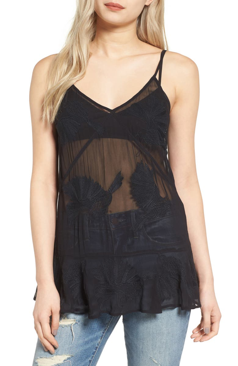 HINGE Embroidered Sheer Mesh Cami, Main, color, 001