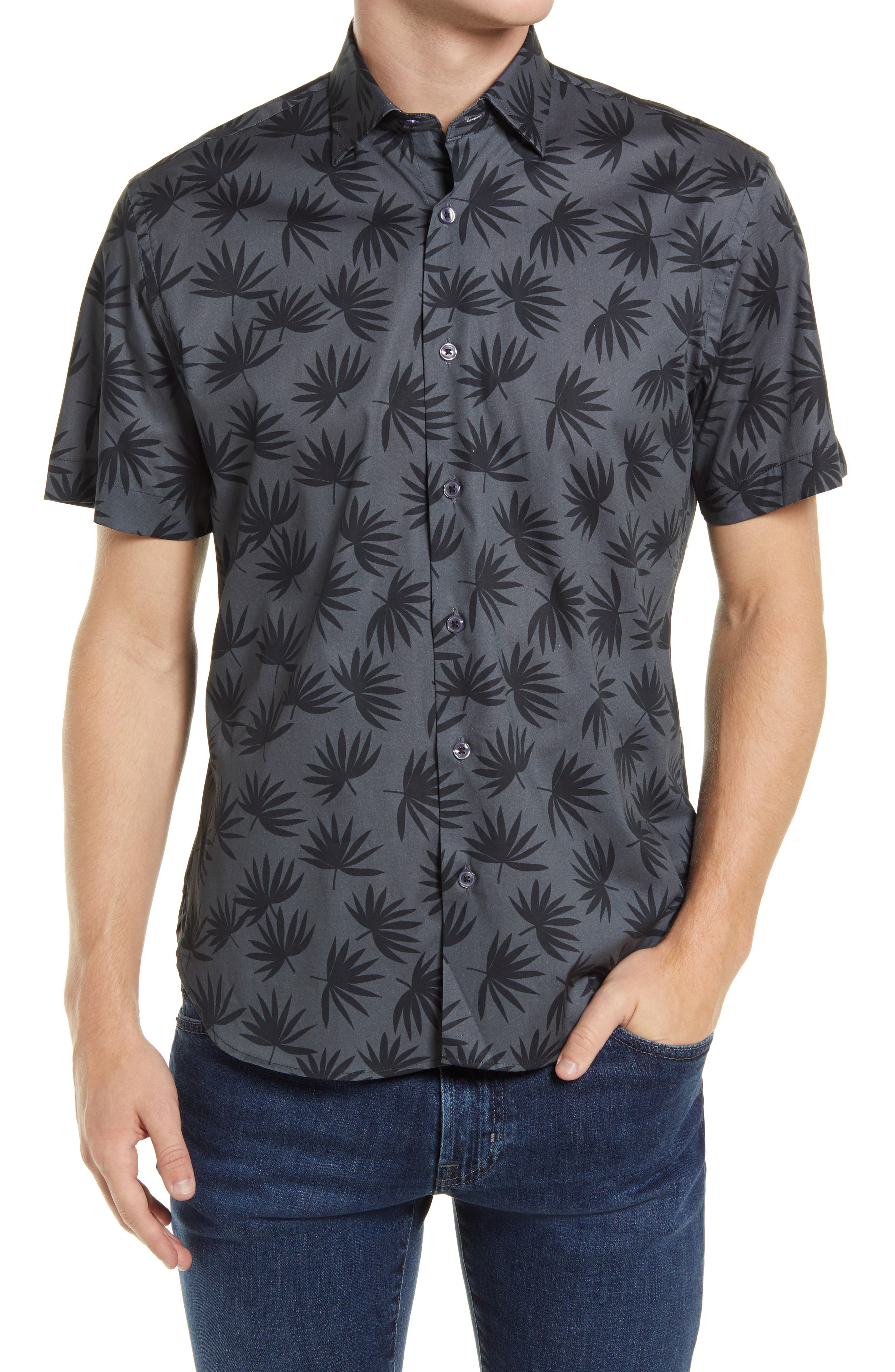 Fan Me Leaf Print Short Sleeve Stretch Button-Up Shirt