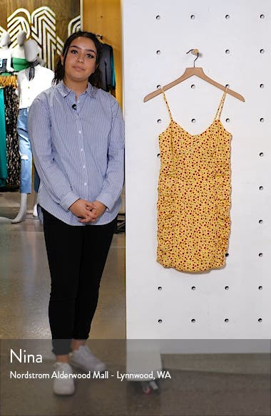 Shirred Side Floral Print Minidress, sales video thumbnail