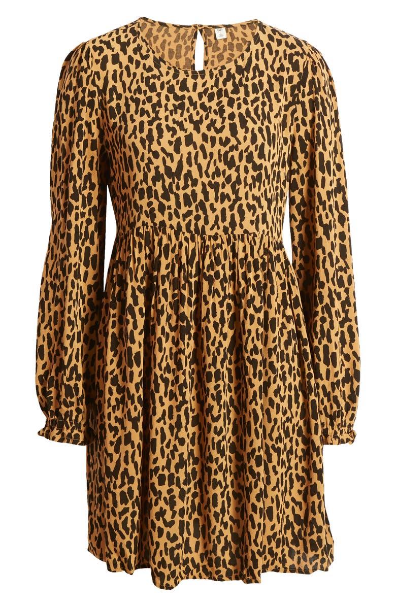 BP. Print Long Sleeve Dress, Alternate, color, TAN DALE DASHED SPOT