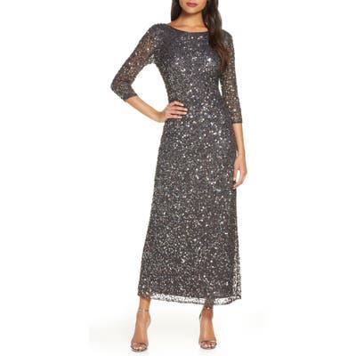 Pisarro Nights Sequin Mesh Gown, Metallic