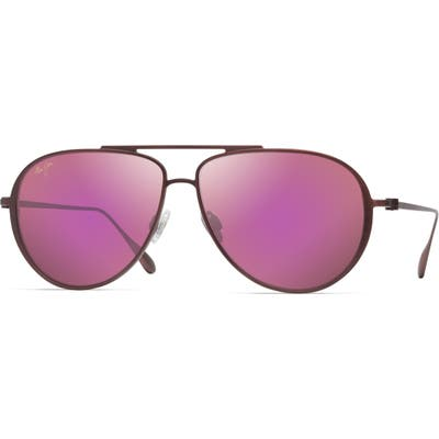 Maui Jim Shallows 5m Polarized Special Fit Aviator Sunglasses - Matte Brushed Burgundy