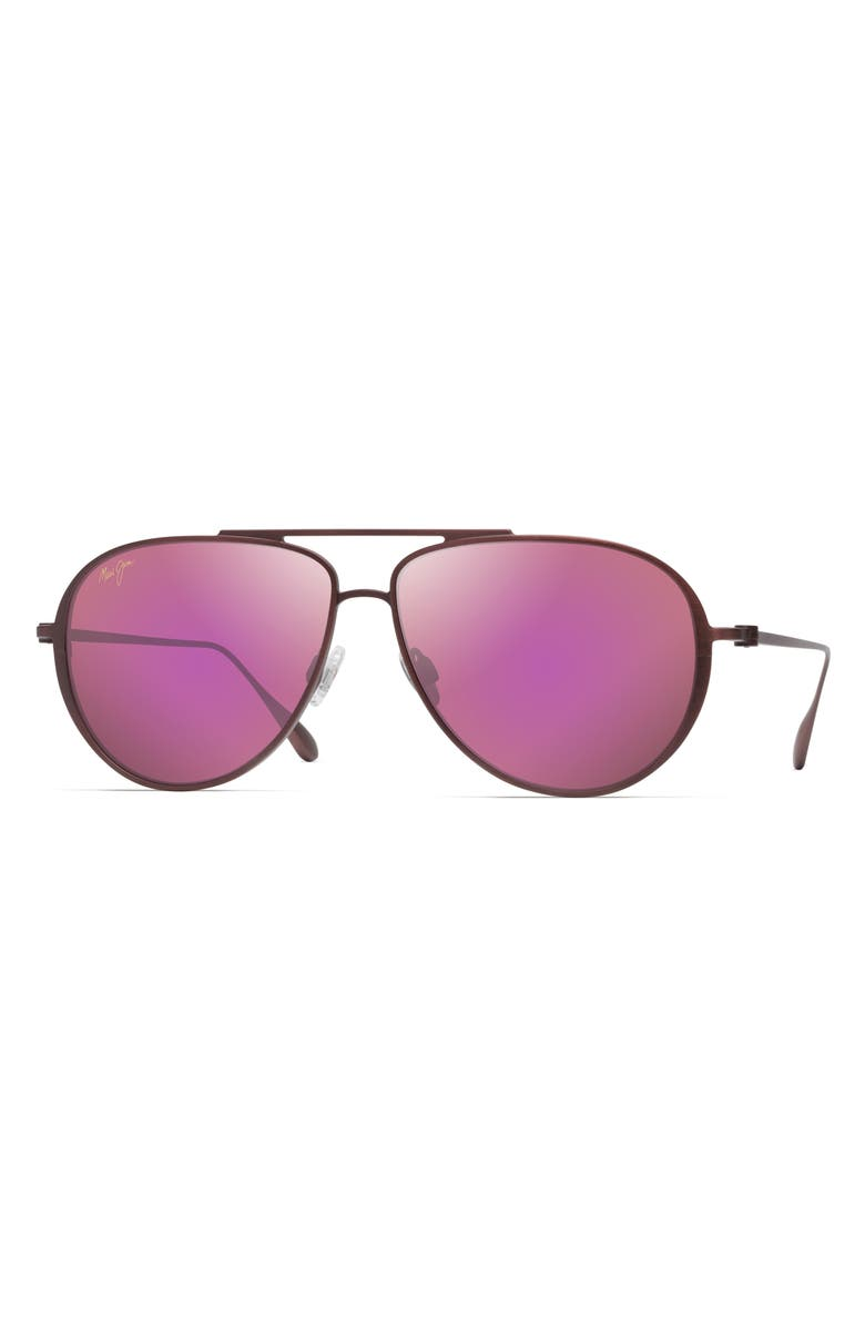 MAUI JIM Shallows 59mm Polarized Special Fit Aviator Sunglasses, Main, color, MATTE BRUSHED BURGUNDY