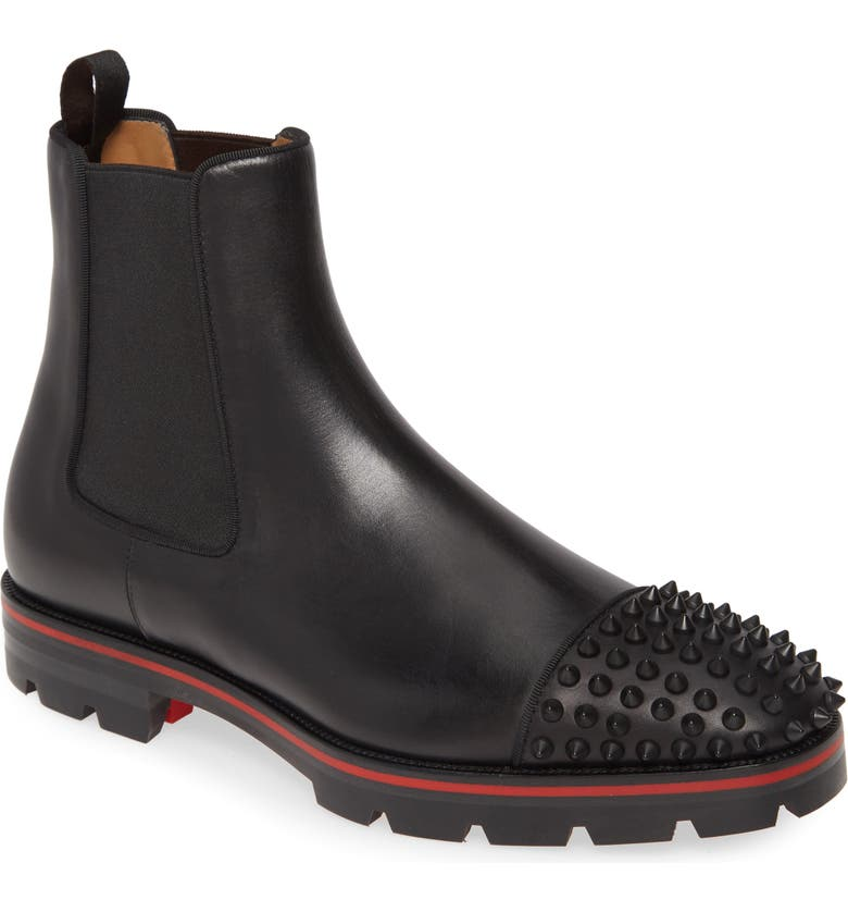 CHRISTIAN LOUBOUTIN Melon Spike Chelsea Boot, Main, color, BLACK/BLACK