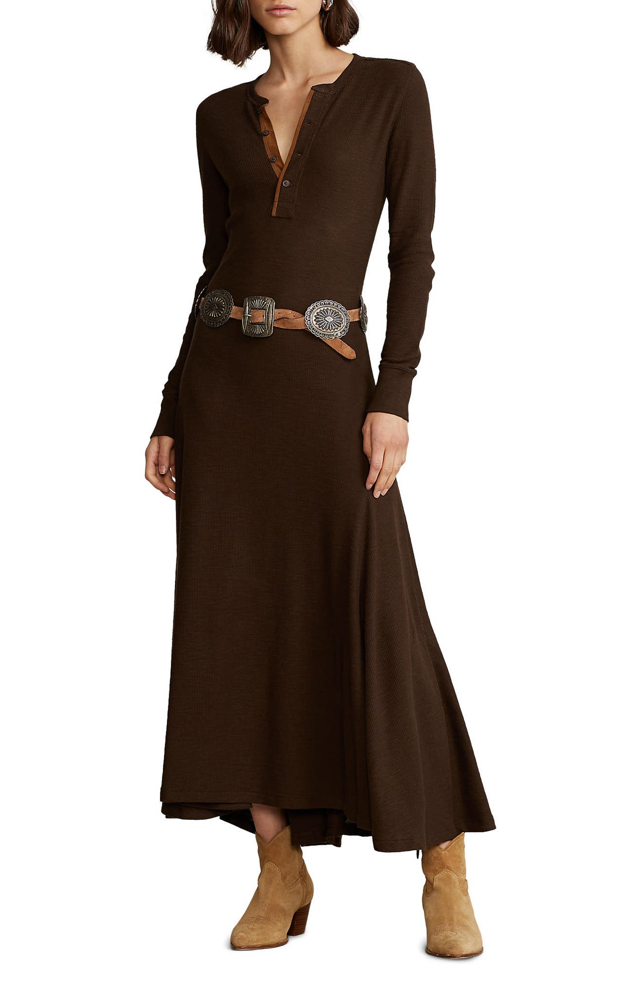 Vintage Western Wear Clothing, Outfit Ideas Womens Polo Ralph Lauren Waffle Long Sleeve Henley Dress Size XX-Small - Brown $228.00 AT vintagedancer.com