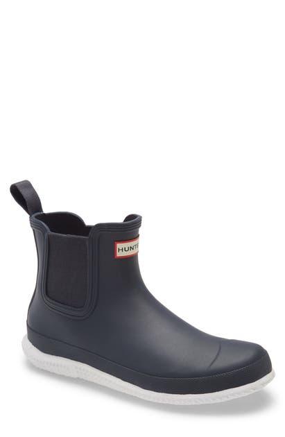 Hunter Calendar Sole Waterproof Chelsea Rain Boot In Navy/ White
