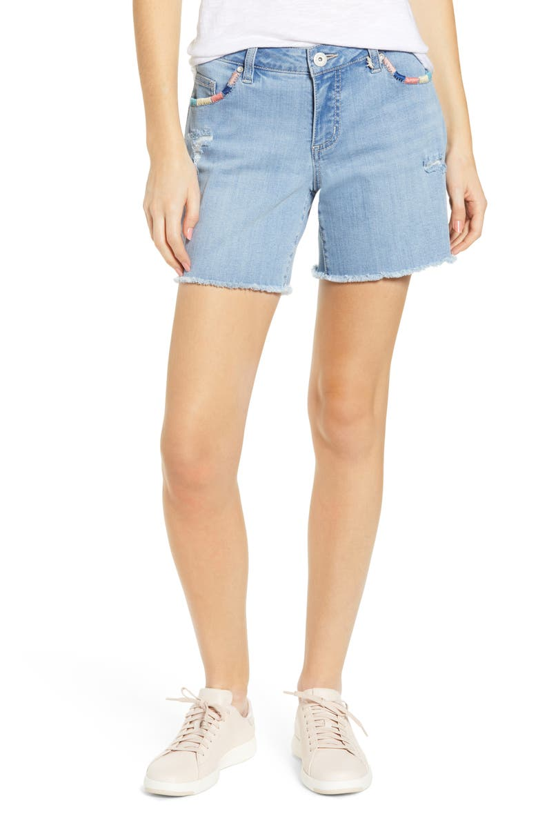 JAG JEANS Carter Whipstitch Denim Shorts, Main, color, ISLAND BLUE