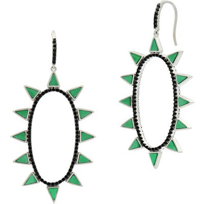 Freida Rothman Industrial Finish Spike Oval Earrings