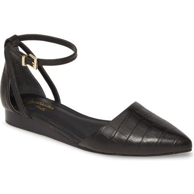 Seychelles Plateau Ankle Strap Pointed Toe Flat- Black