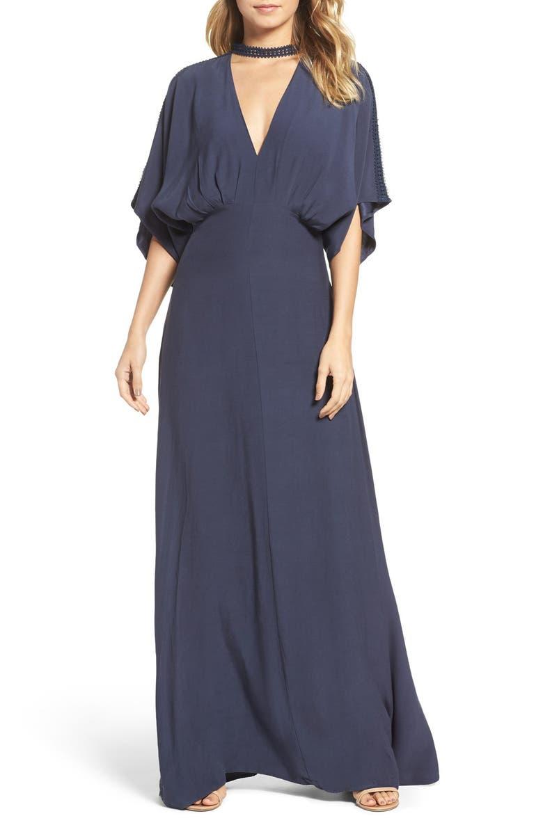 FOXIEDOX Jasmine Choker Collar V-Neck Dress, Main, color, 410