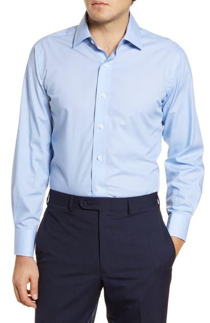 Lorenzo Uomo Trim Fit Star Print Dress Shirt In Ocean Blue