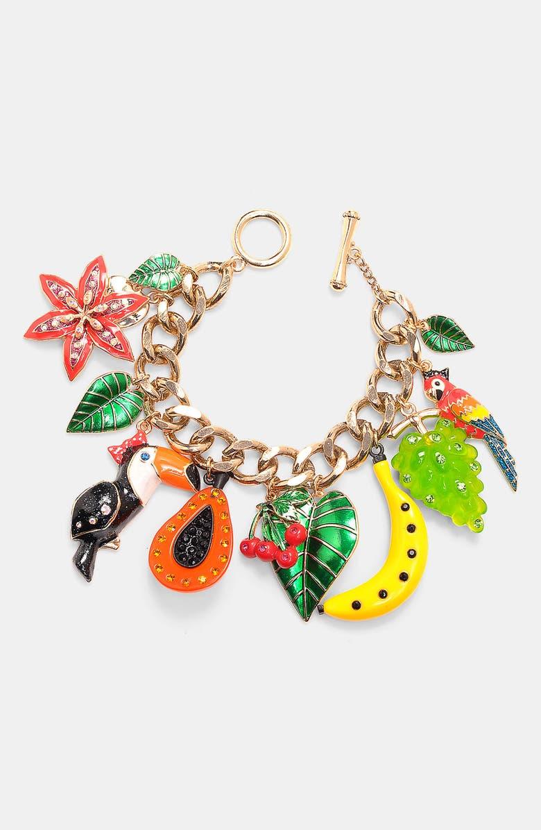 BETSEY JOHNSON 'Rio' Toucan & Fruit Charm Bracelet, Main, color, RIO MULTI