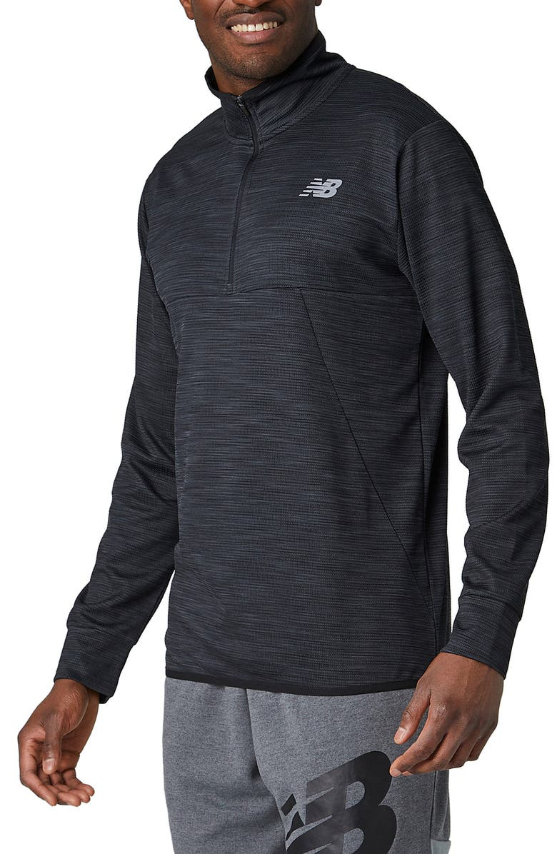 NEW BALANCE Tenacity Quarter Zip Performance Pullover, Main, color, BLACK HEATHER