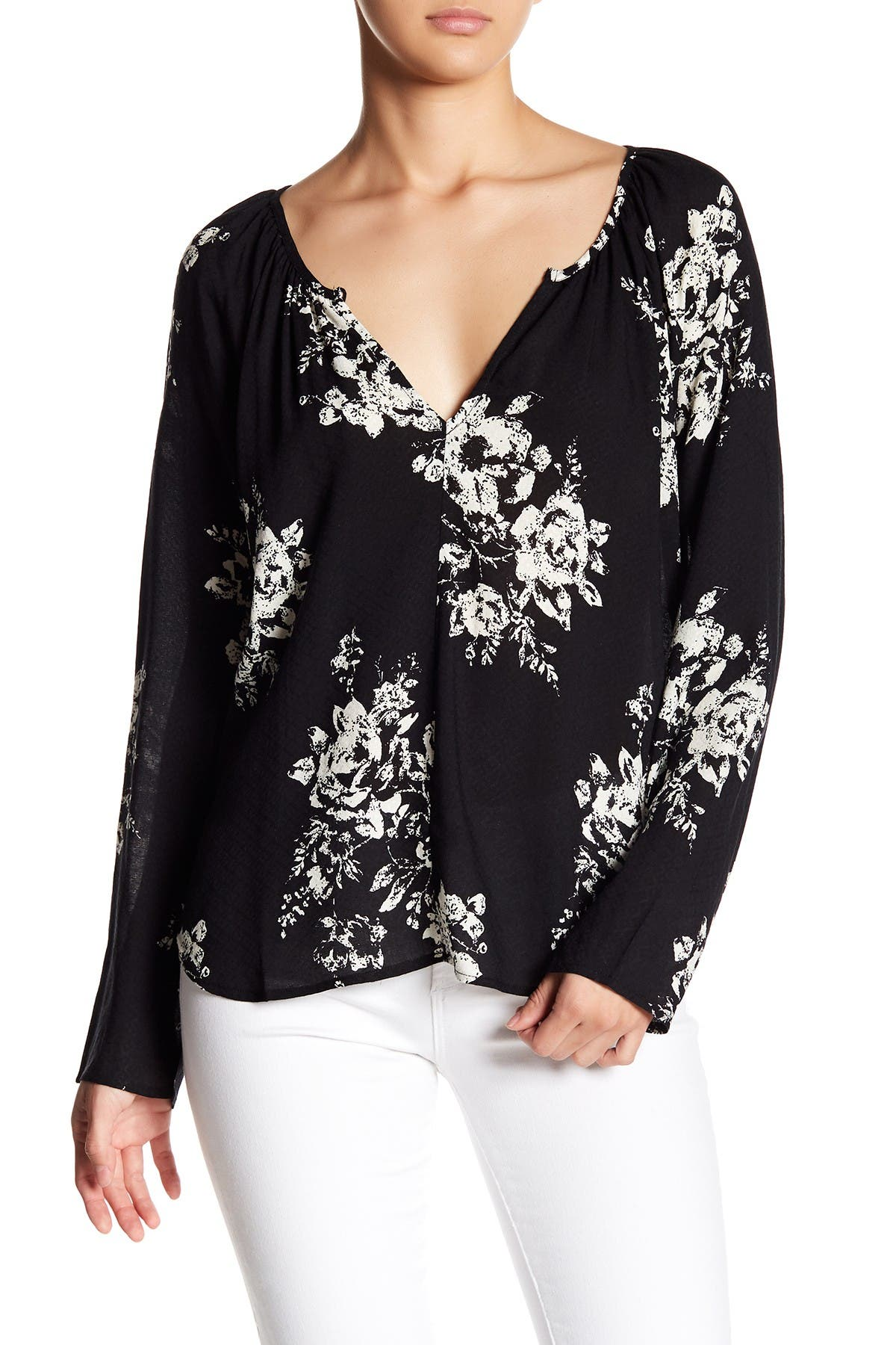 Image of Love Stitch Long Sleeve Printed Blouse