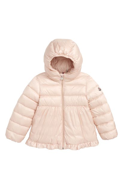 Moncler Kids' Odile Semi-quilted Ruffle Hem Puffer Jacket In Light Pink