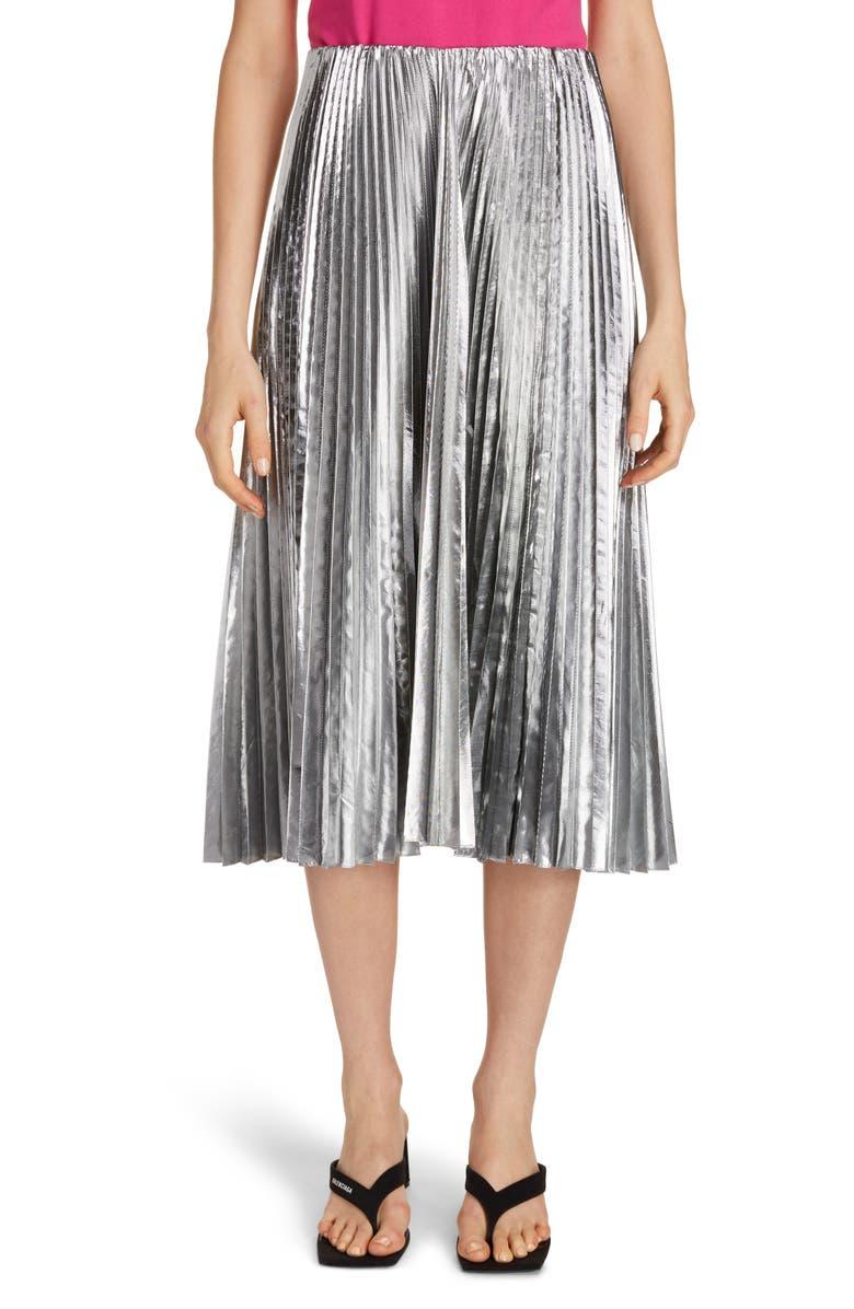 BALENCIAGA Metallic Pleated Wool Blend Midi Skirt, Main, color, SILVER