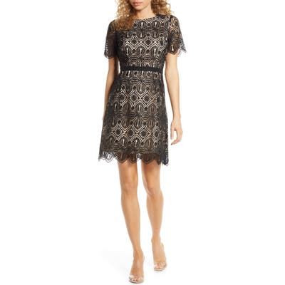 Chelsea28 Embroidered Lace A-Line Dress, Black