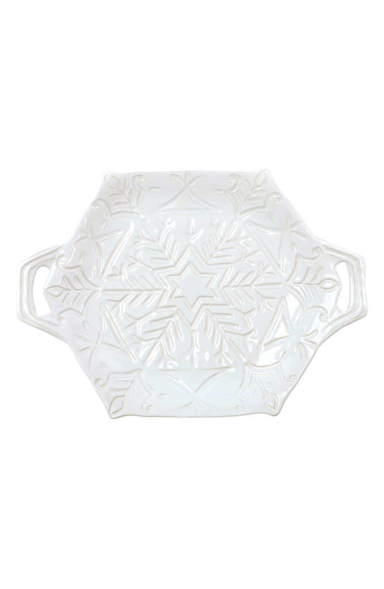 VIETRI Incanto Winterland Snowflake Stoneware Platter, Main, color, WHITE