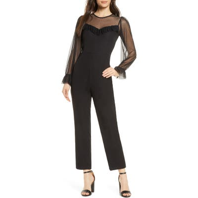Ali & Jay Dusk Long Sleeve Lace Trim Jumpsuit, Black