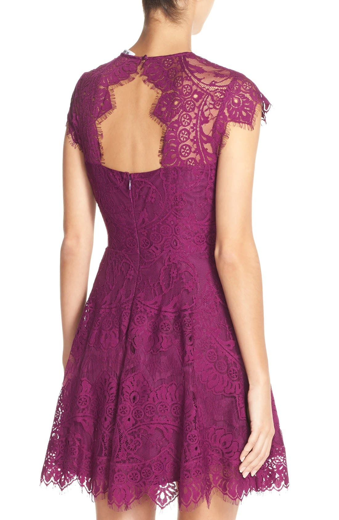 ,                             Rhianna Open Back Lace Fit & Flare Cocktail Dress,                             Alternate thumbnail 57, color,                             508
