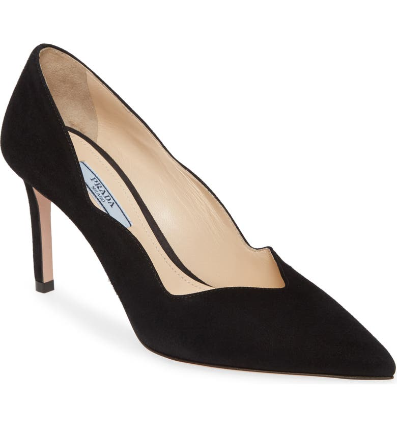 PRADA Scallop Pointy Toe Pump, Main, color, BLACK SUEDE