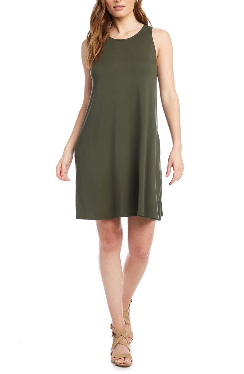 KAREN KANE Chloe Sleeveless Stretch Jersey Swing Dress, Main, color, OLIVE