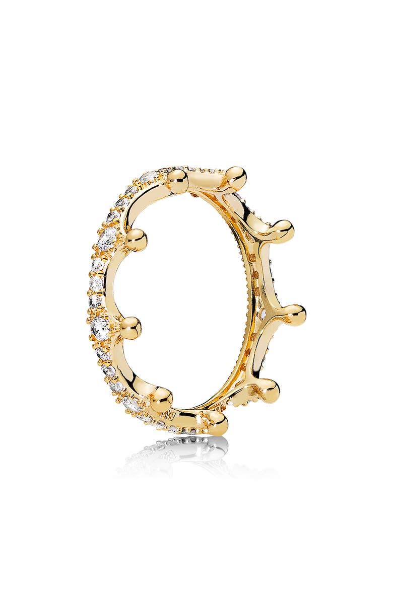 PANDORA Crown Stacking Ring, Main, color, GOLD