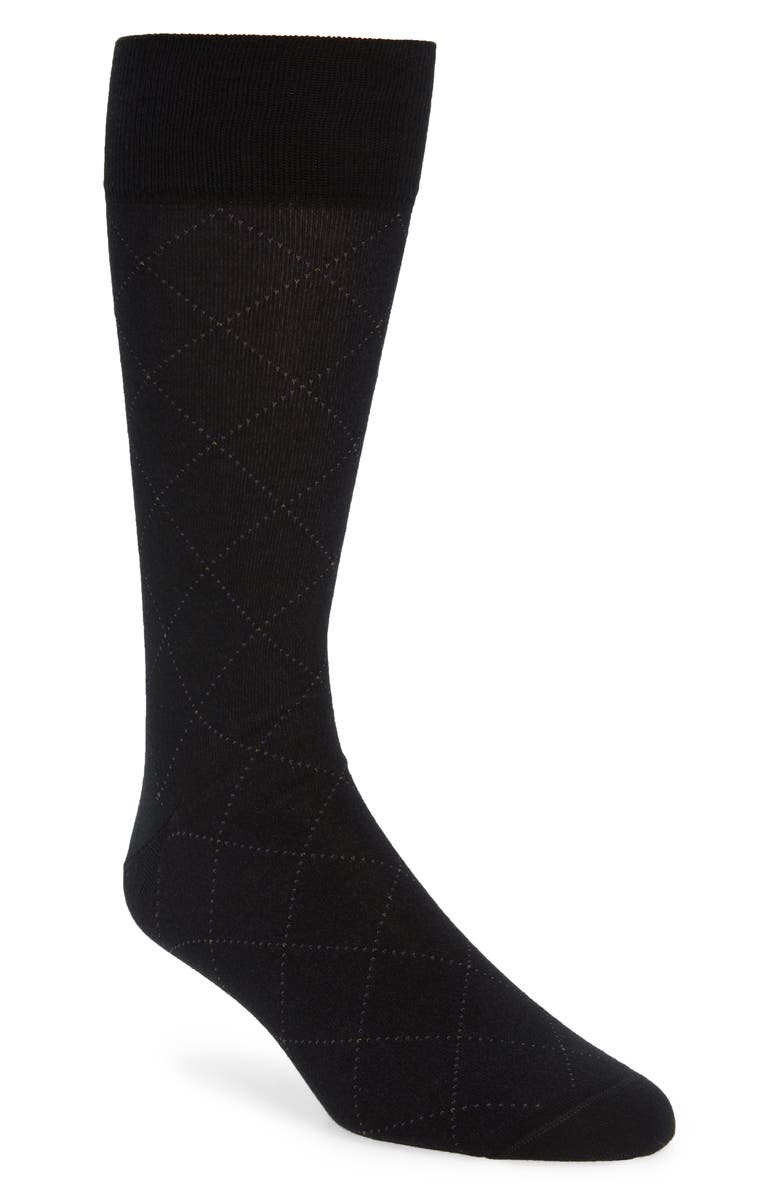 NORDSTROM SIGNATURE Argyle Pima Cotton Blend Dress Socks, Main, color, BLACK/ GREY