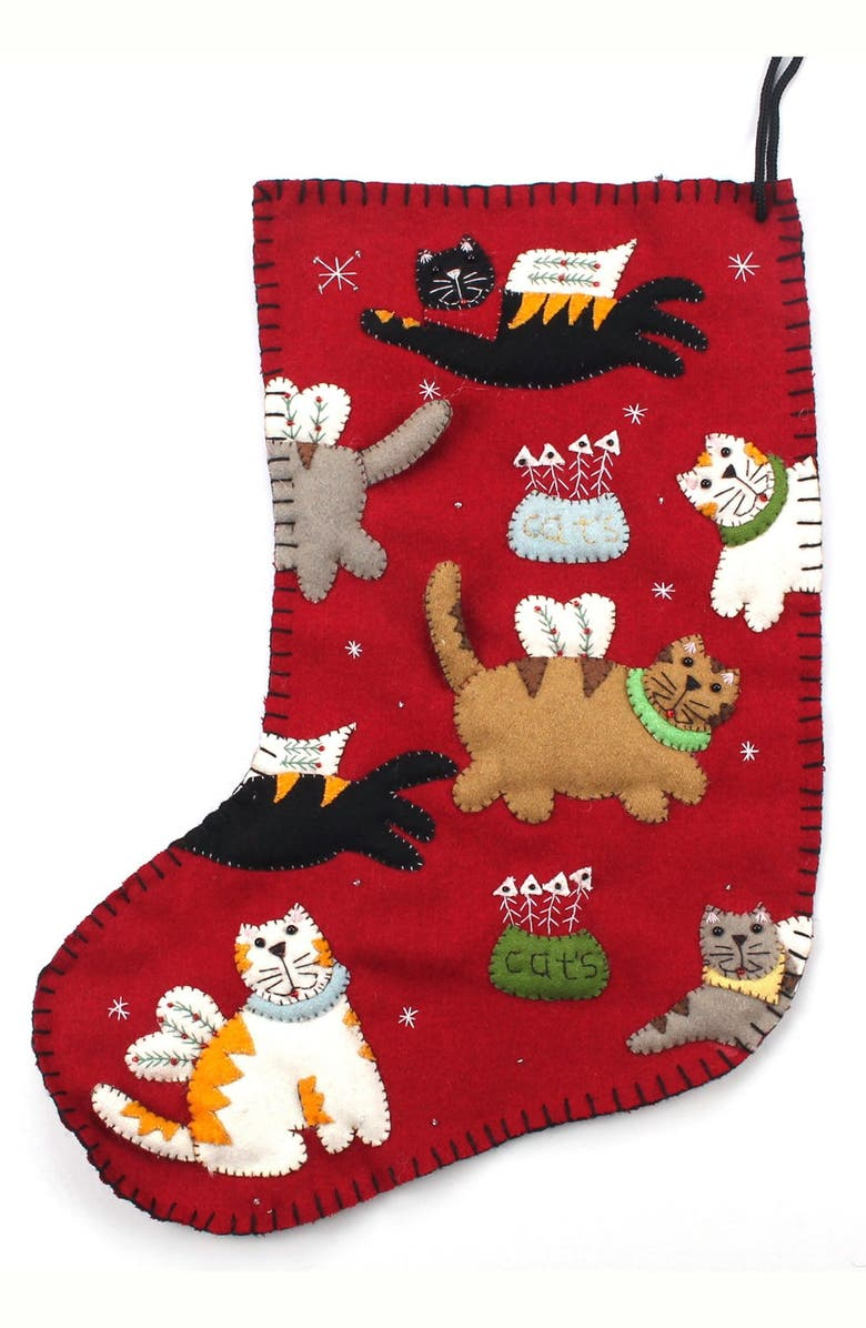 NEW WORLD ARTS Angel Cat Christmas Stocking, Main, color, RED