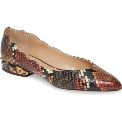 Chloe Laurena Snake Embossed Scalloped Flat - Beige (Nordstrom Exclusive)