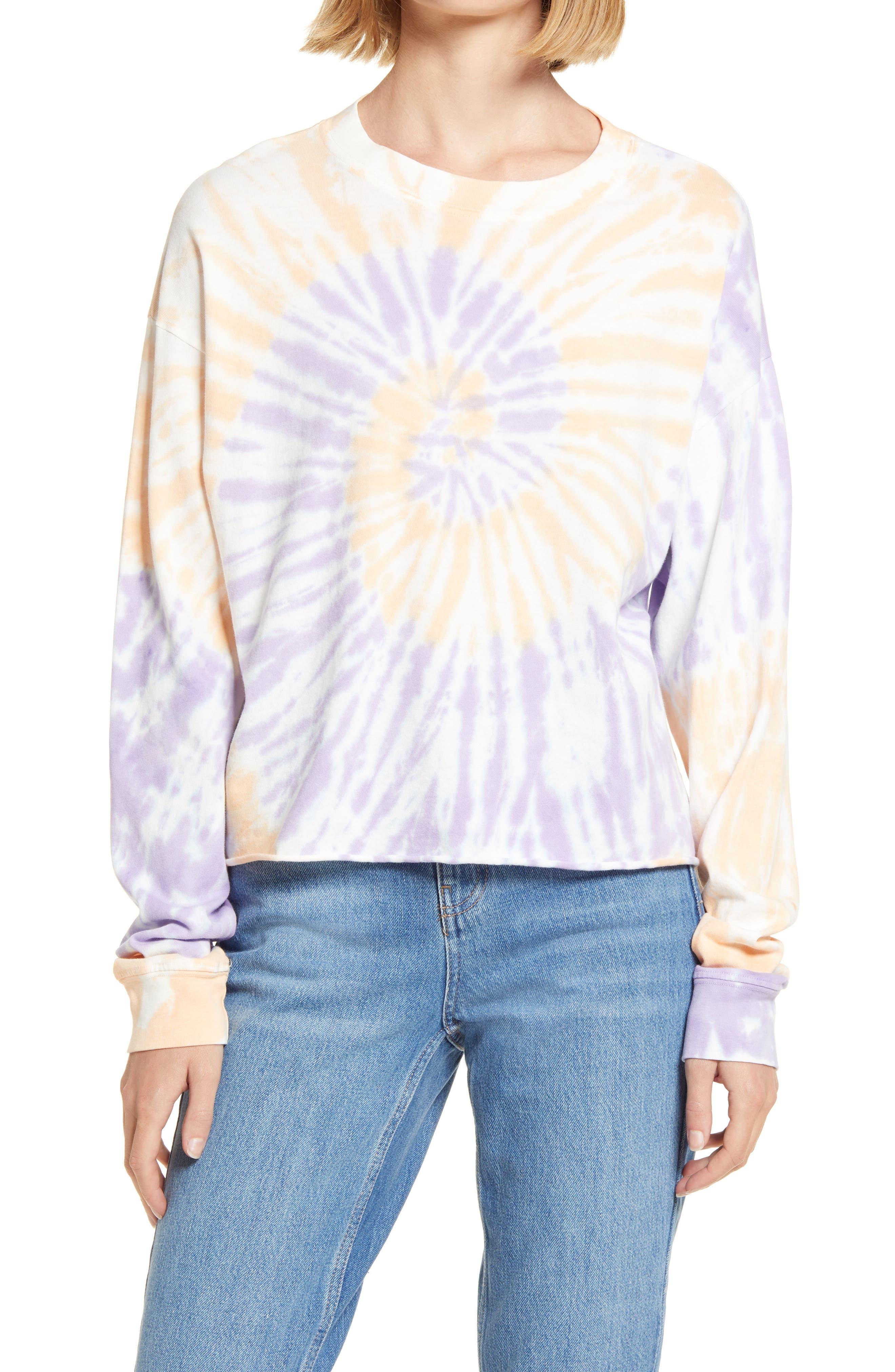 Daydreamer Tie Dye Long Sleeve Crop T-Shirt | Nordstrom