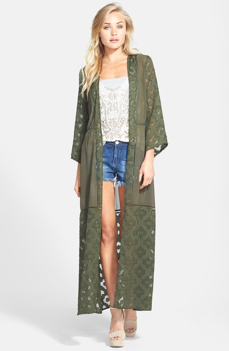 ASTR THE LABEL ASTR Jacquard Mixed Media Robe, Main, color, GREEN JEWEL