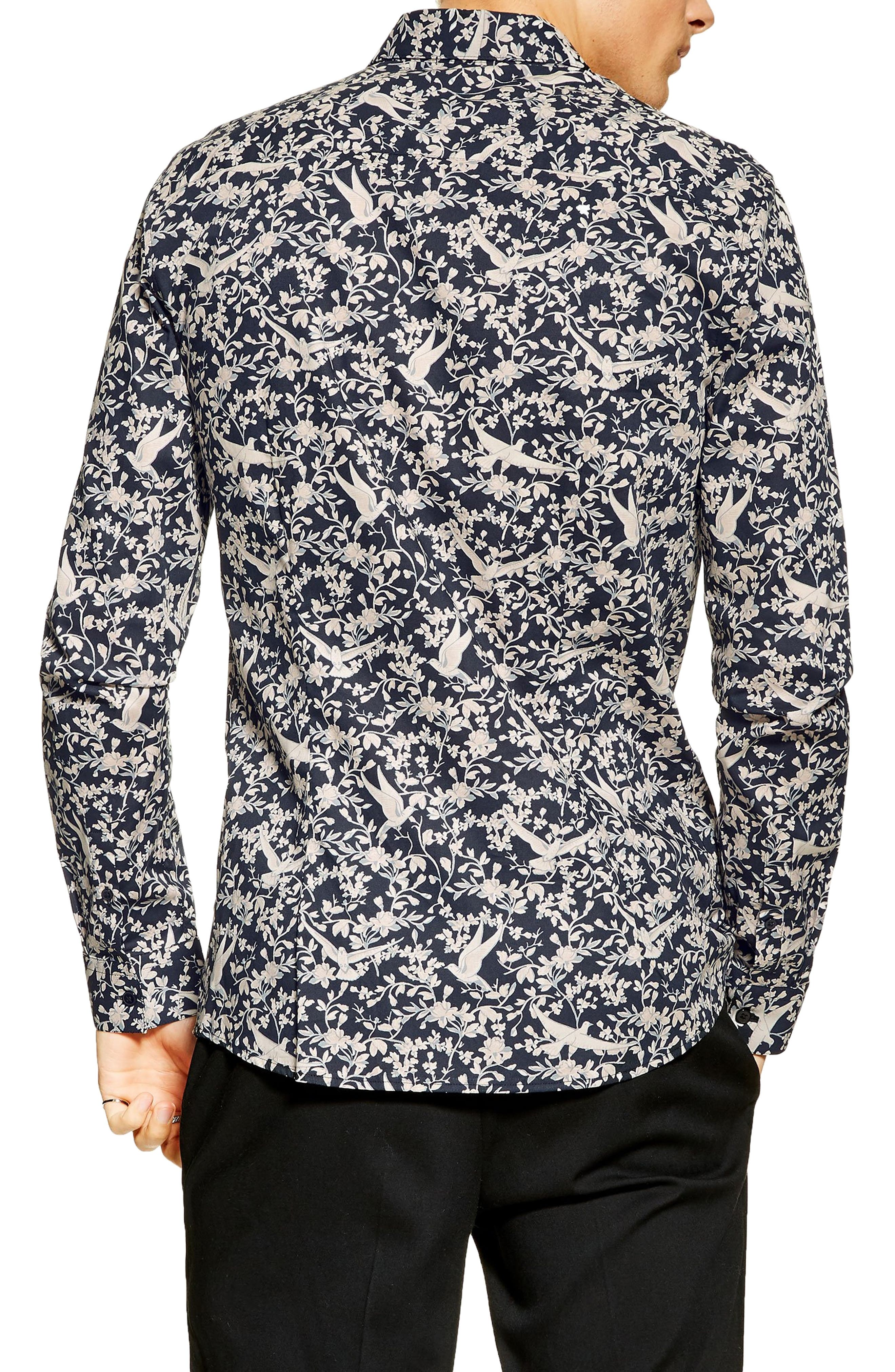,                             Stretch Skinny Fit Floral Print Shirt,                             Alternate thumbnail 3, color,                             NAVY MULTI