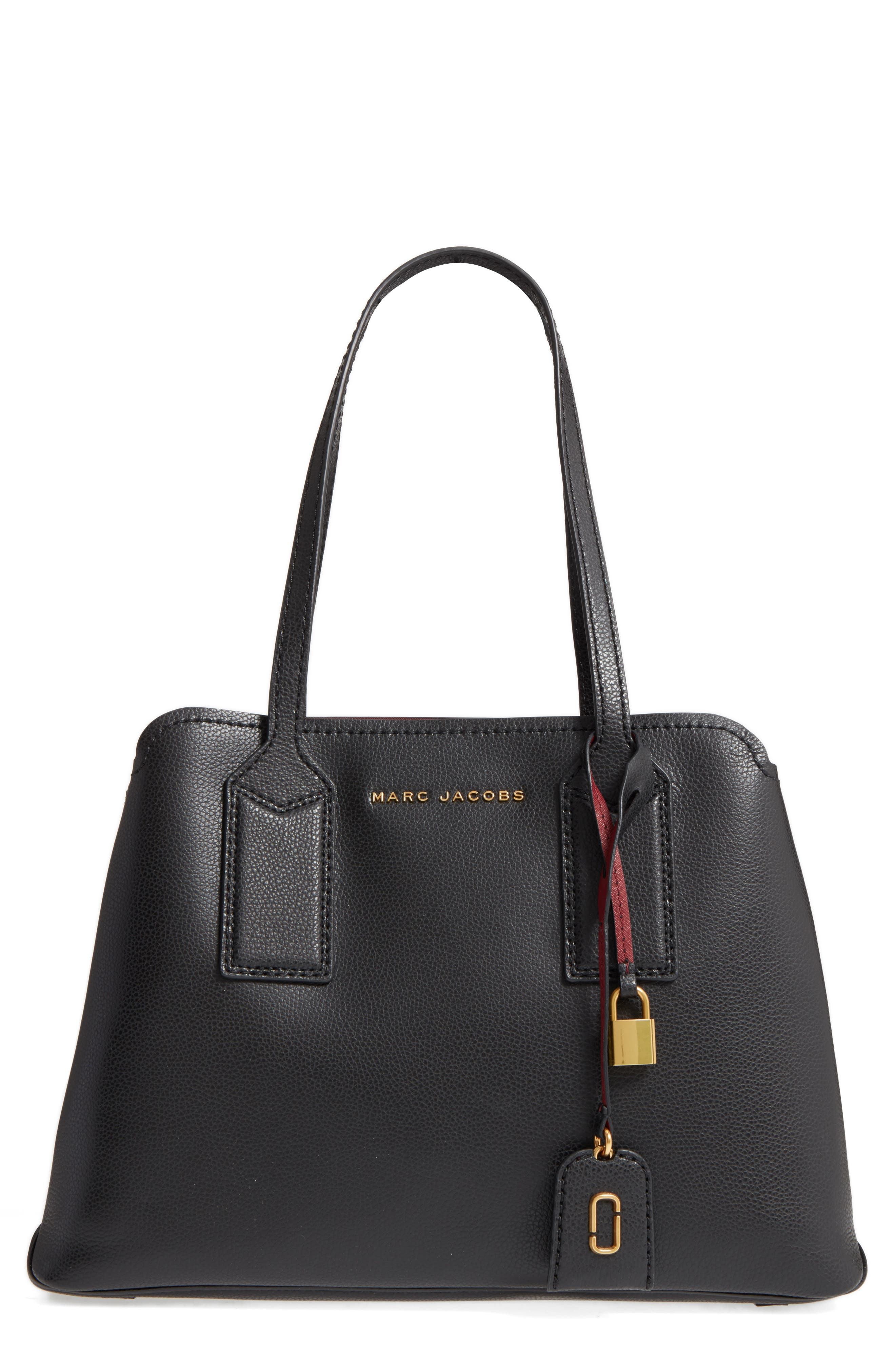 The Editor Leather Tote, Main, color, BLACK