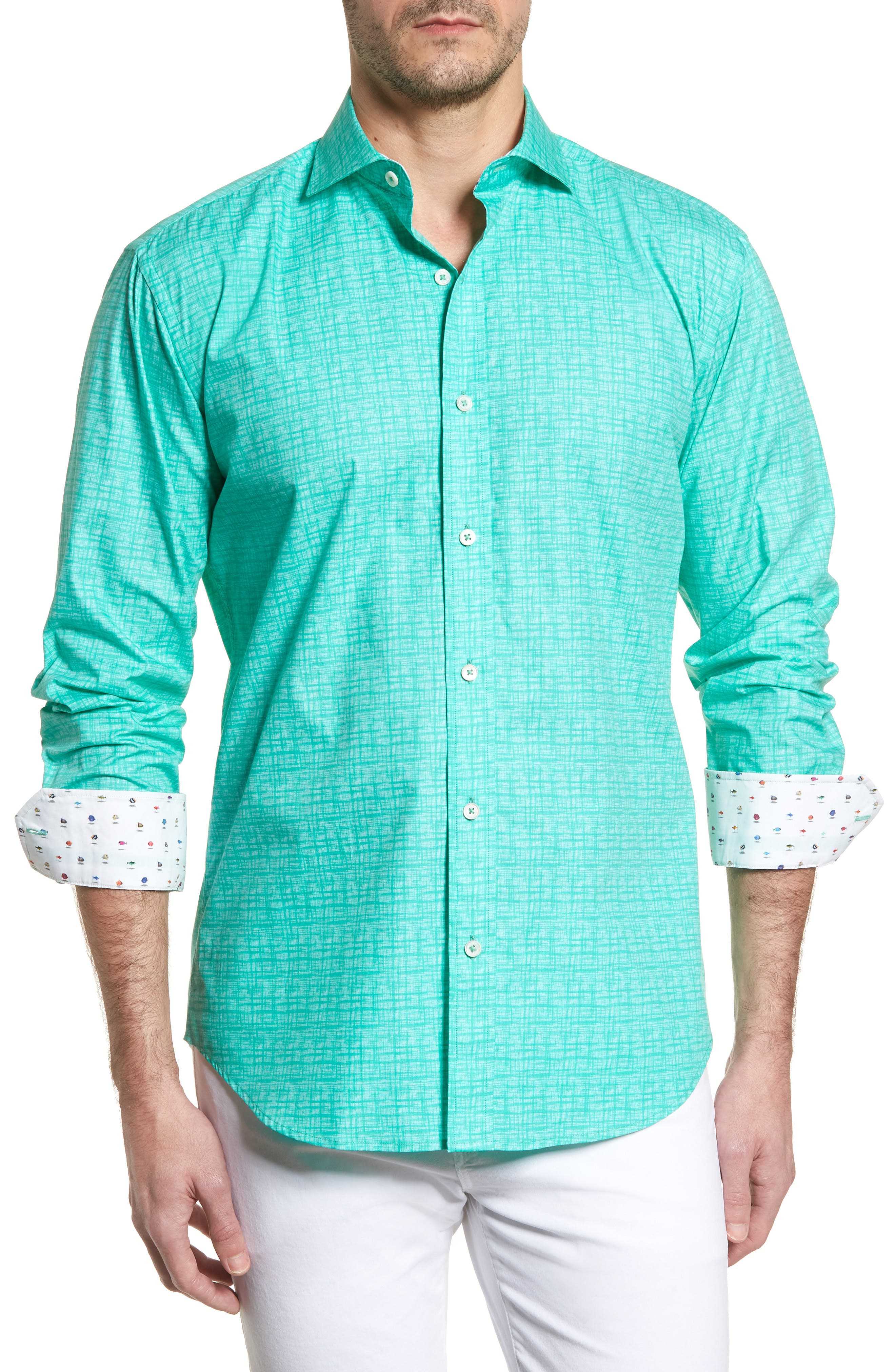 Shaped Fit Freehand Sport Shirt, Main, color, 313