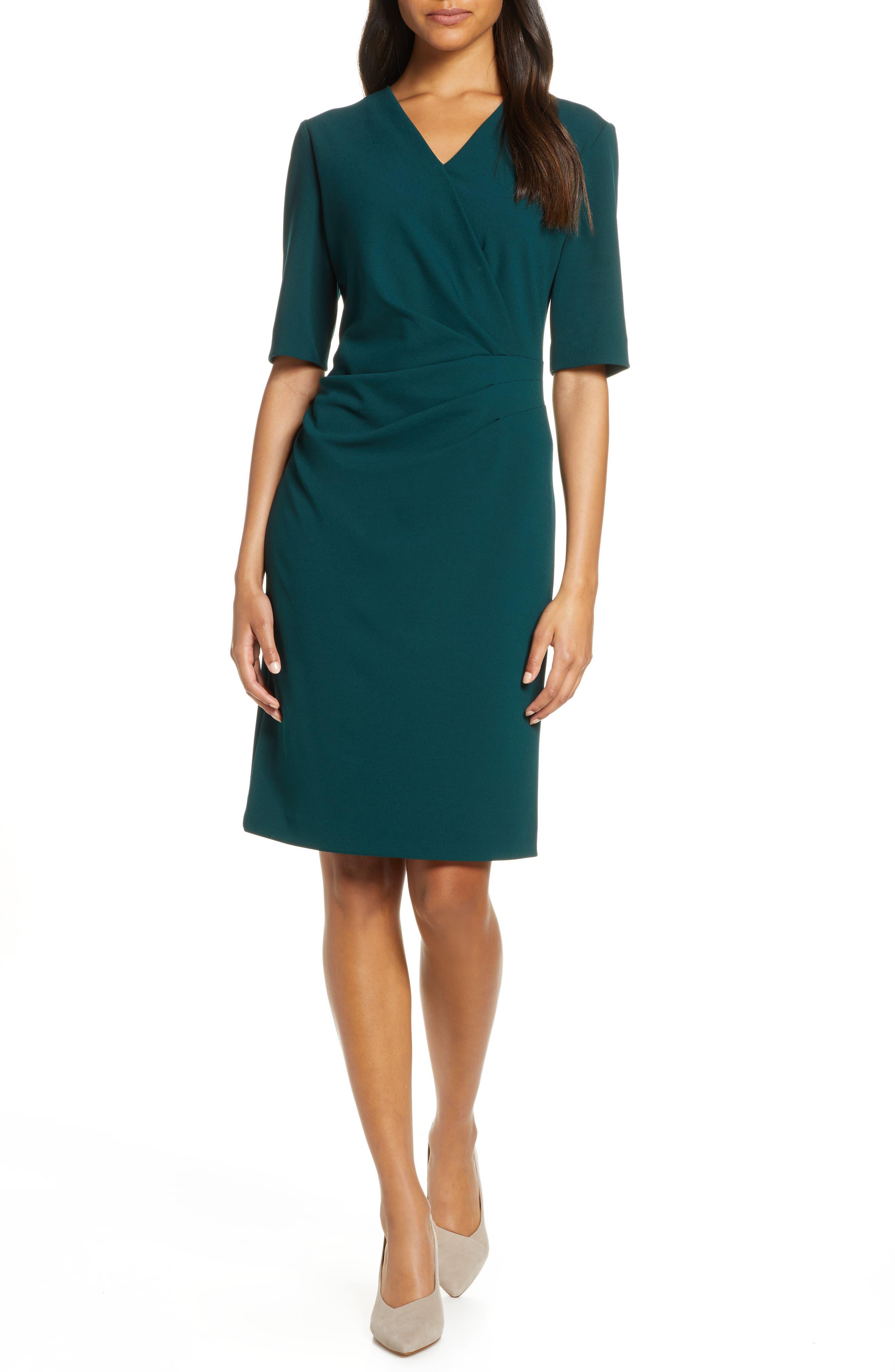Tahari Pleat Detail Sheath Dress (Regular & Petite)