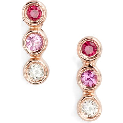 Ef Collection Diamond & Pink Sapphire Trio Bezel Stud Earrings
