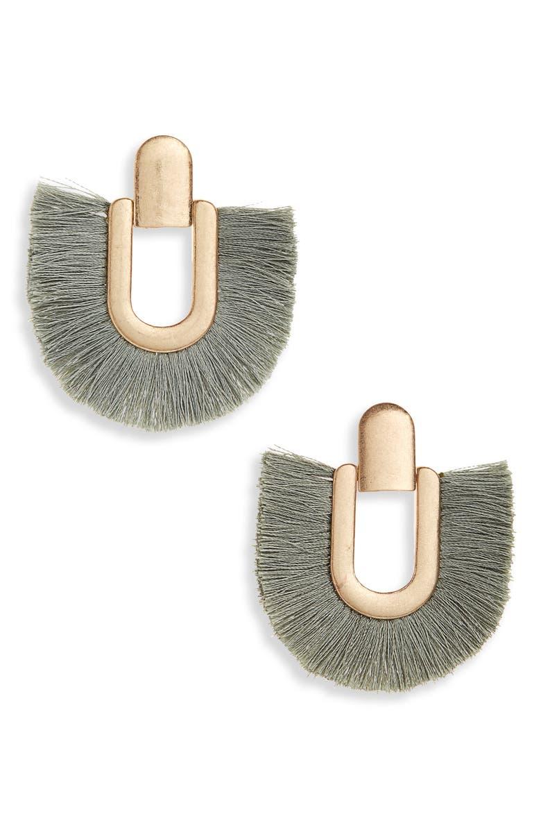 SHASHI Nina Tassel Earrings, Main, color, GOLD/ GREY