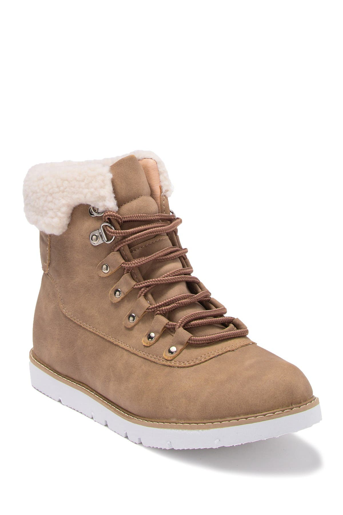 Image of Chase & Chloe Zenia aux Shearling Trimmed Combat Bootie