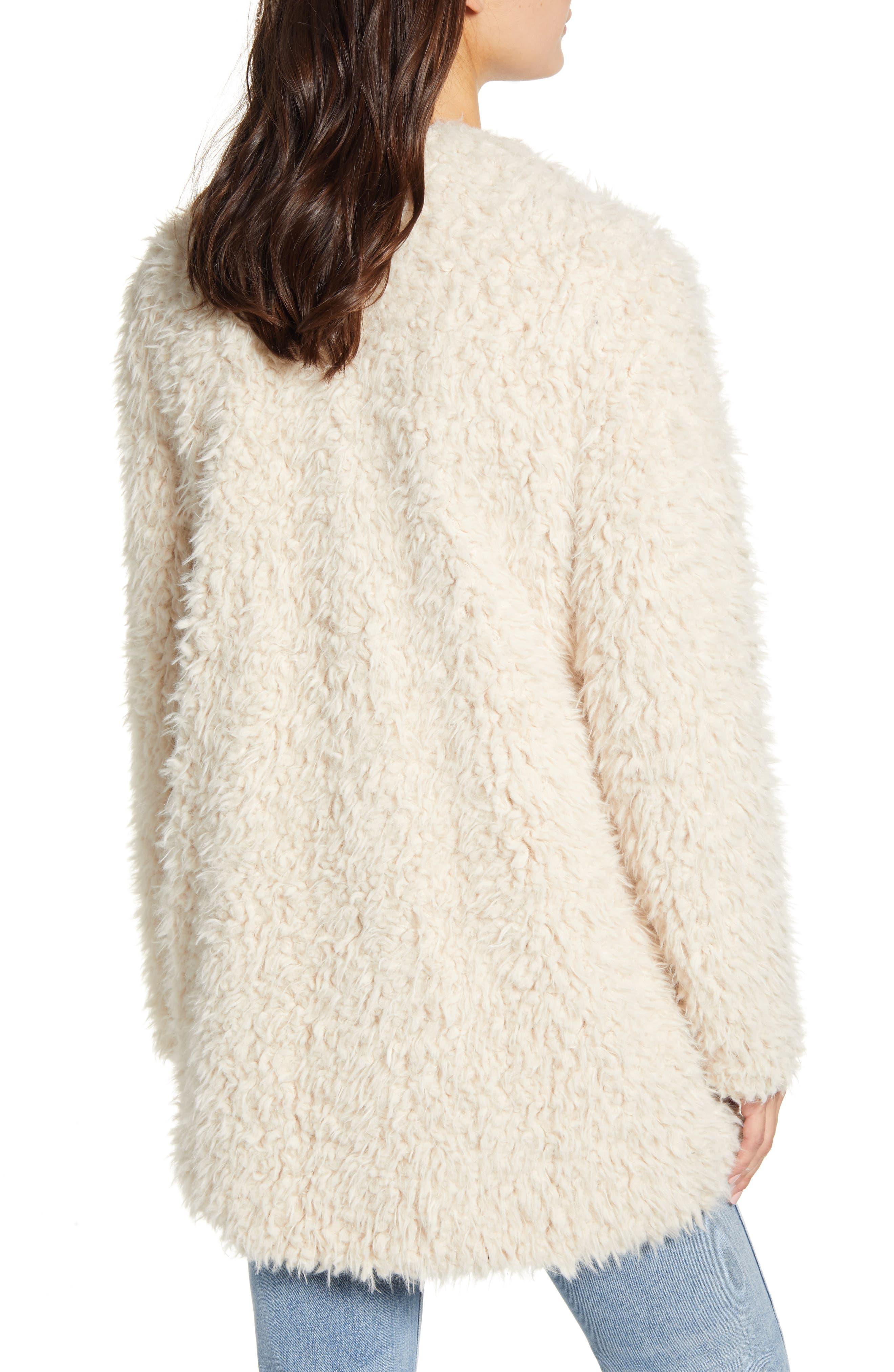 BB Dakota Cozy Faux Fur Drape Front Coat