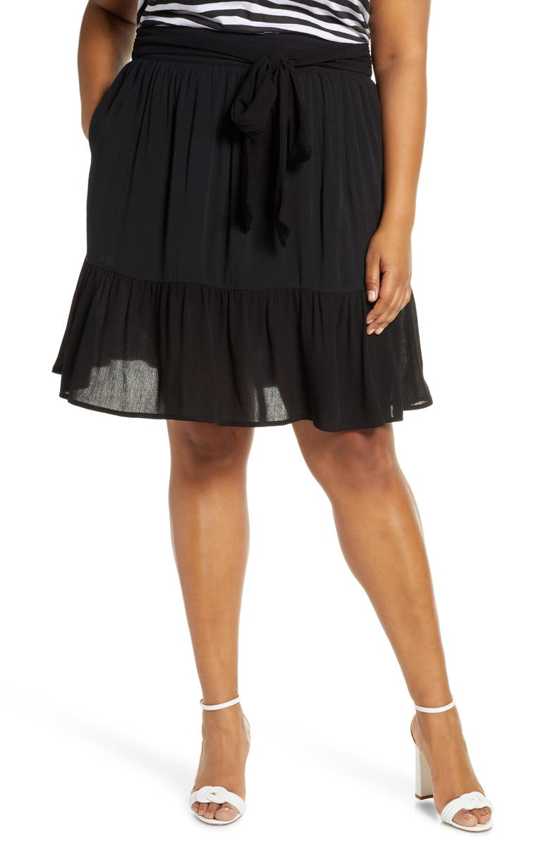 GIBSON x Hi Sugarplum! Capri Tiered Tie Front Summer Skirt, Main, color, BLACK