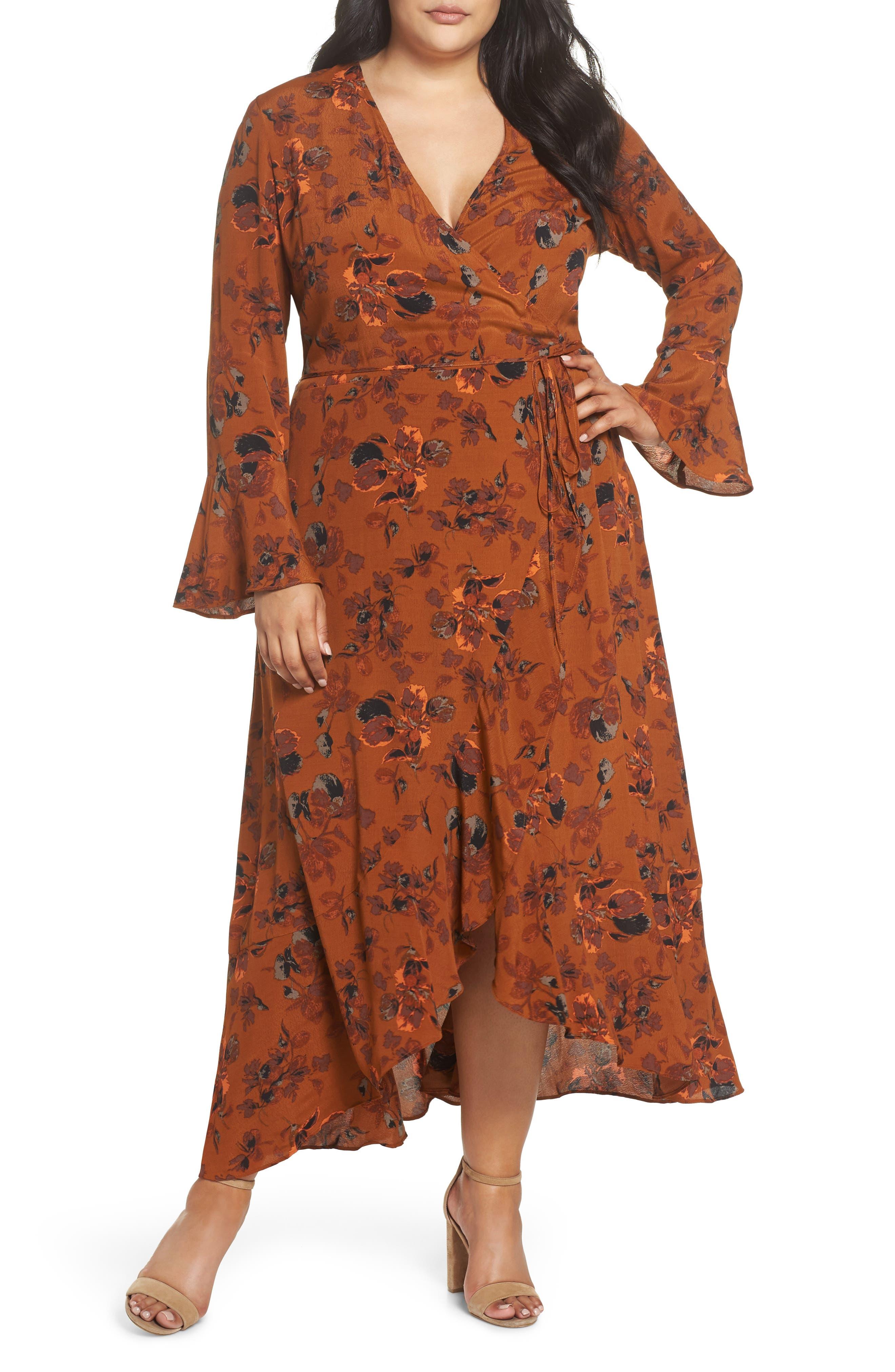 ,                             Bell Sleeve Wrap Midi Dress,                             Alternate thumbnail 4, color,                             RUST CARMEL FALL FOLIAGE