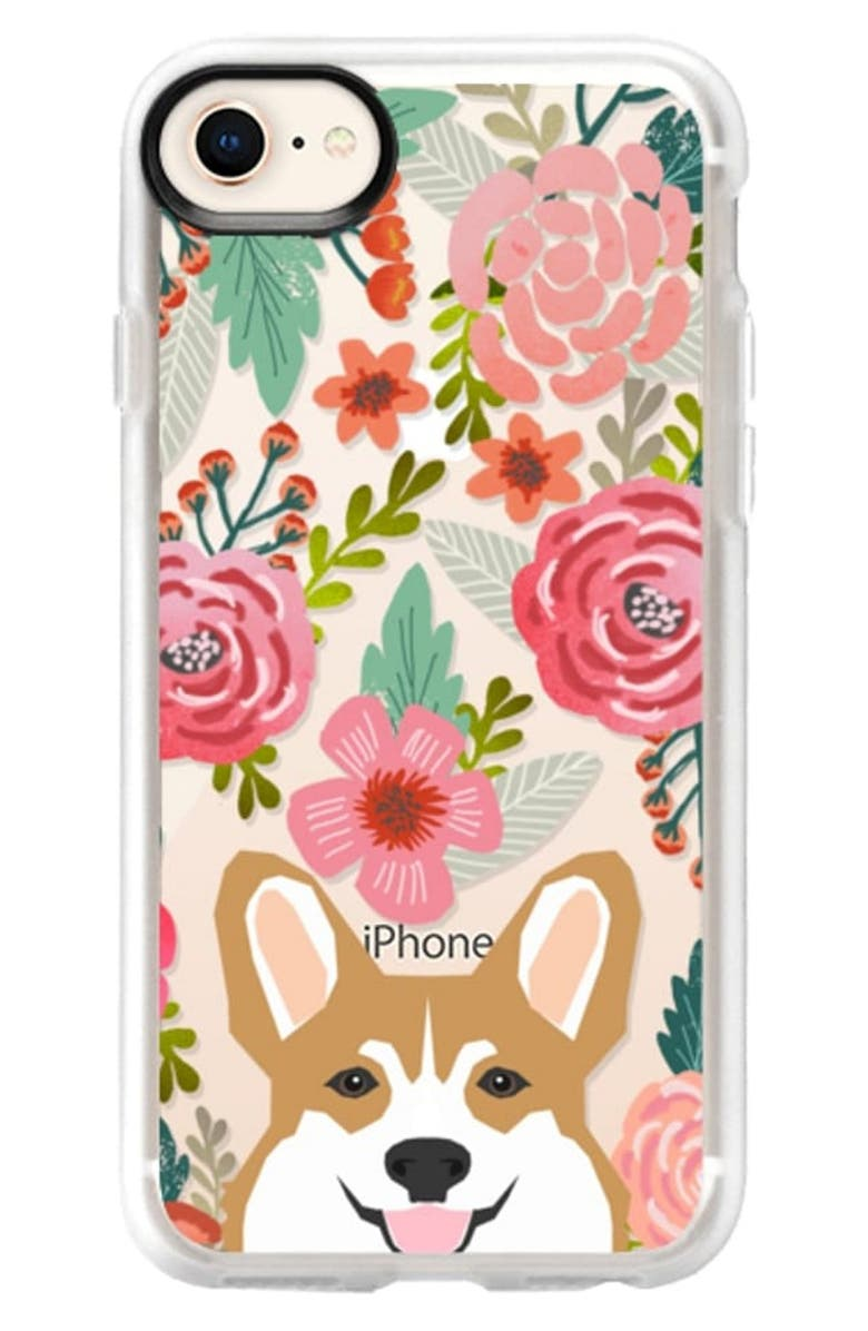 CASETIFY Corgi in the Flowers iPhone X Max, Xs & XR Case, Main, color, PINK / GREEN / TAN