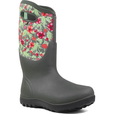 Bogs Neo Classic Tall Vine Floral Waterproof Rain Boot, Grey
