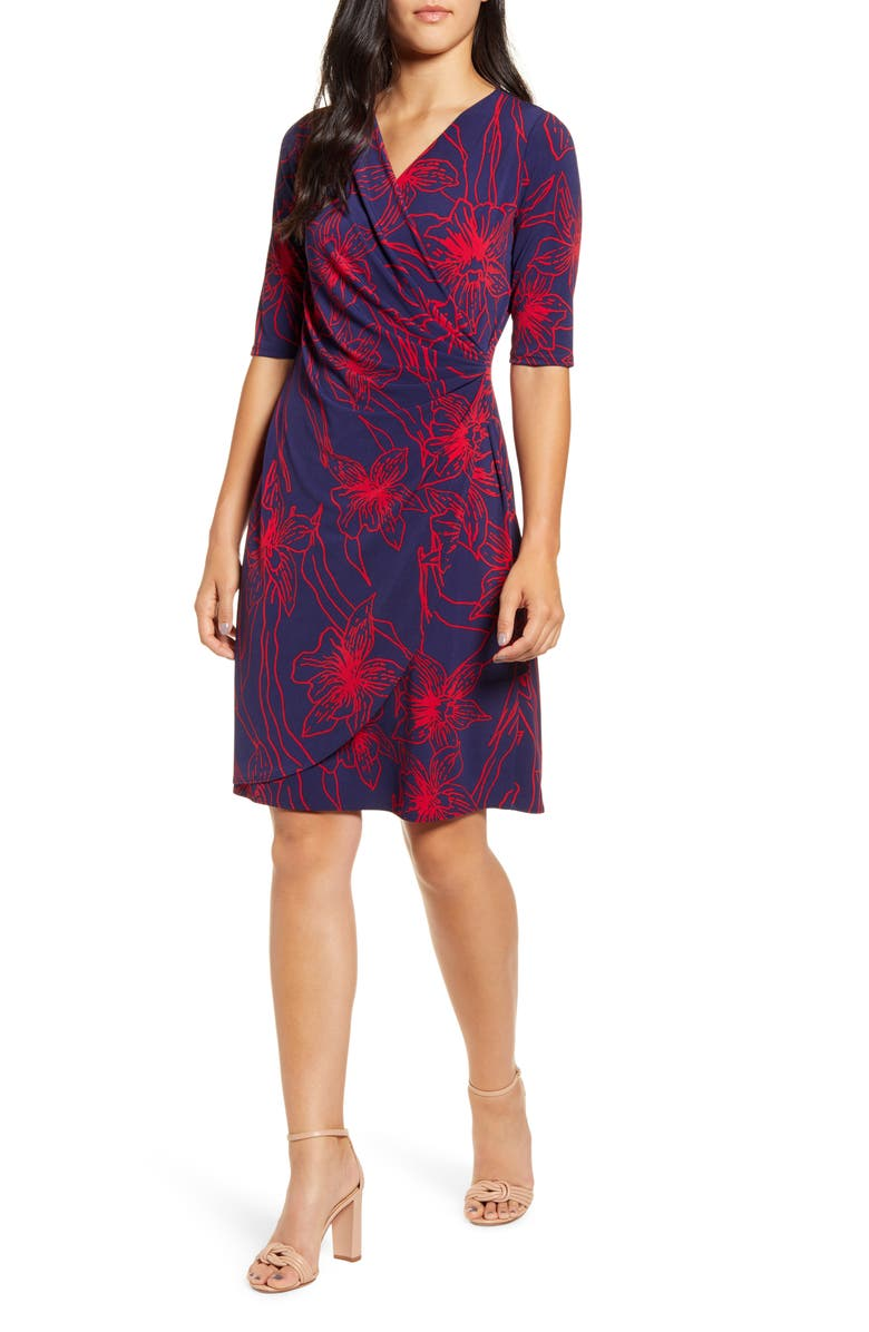 TOMMY BAHAMA Vista Blooms Wrap Front Dress, Main, color, JESTER RED