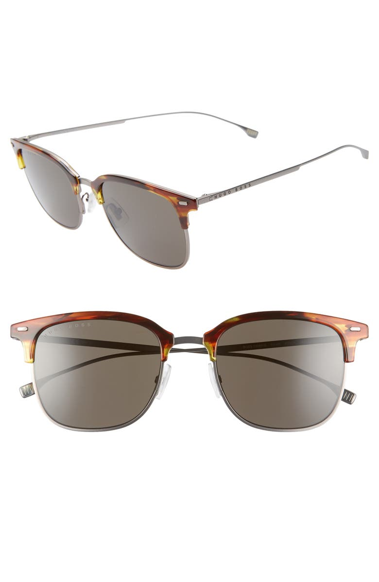 BOSS 53mm Special Fit Semi Rimless Sunglasses, Main, color, BROWN HORN