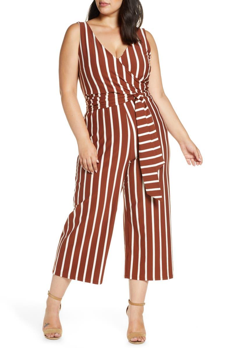 ELOQUII Wrap Front Sleeveless Crop Jumpsuit, Main, color, STRIPE