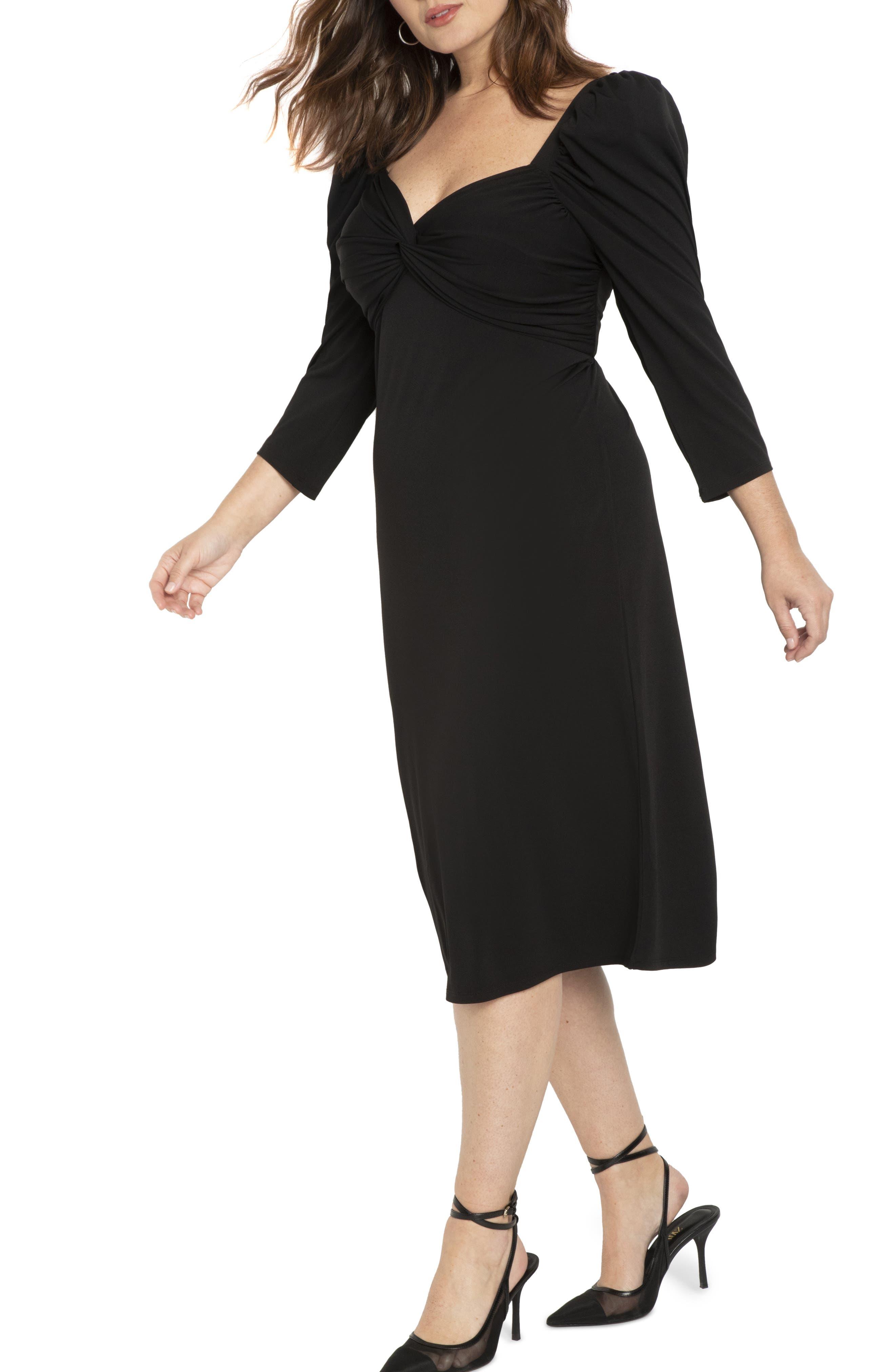 1940s Dresses | 40s Dress, Swing Dress, Tea Dresses Plus Size Womens Eloquii Puff Sleeve Midi Dress Size 22W - Black $59.98 AT vintagedancer.com