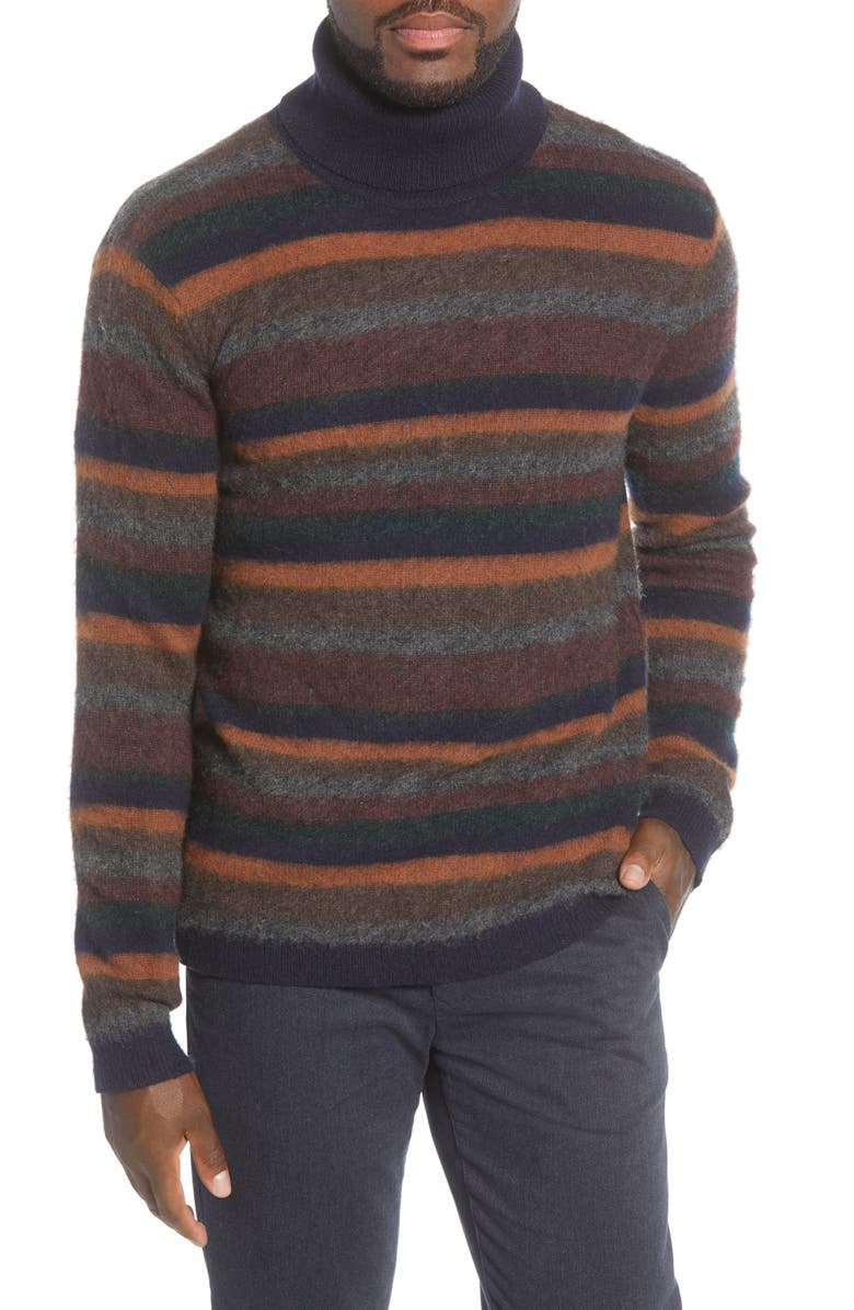 NN07 John 6352 Slim Fit Stripe Wool Blend Turtleneck Sweater, Main, color, 400